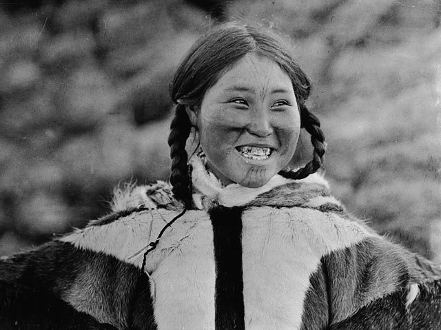 Kila, a tattooed Inuit woman, from the Dolphin and Union Strait area